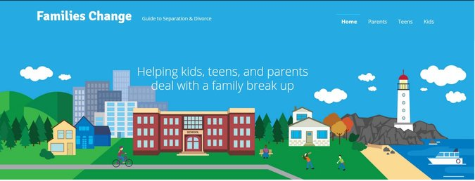 Banner image showing a cartoon version of a small Maine town, with houses, a brick school-house, lots of grass, the ocean, a lighthouse, and a blue sky. This image links to Families Change - a guide for parents and kids who are going through a divorce or family separation.